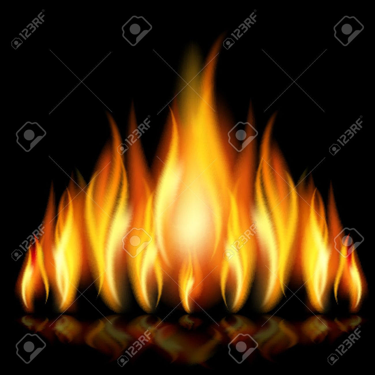 Flames of different shapes on a black background. - 11218741