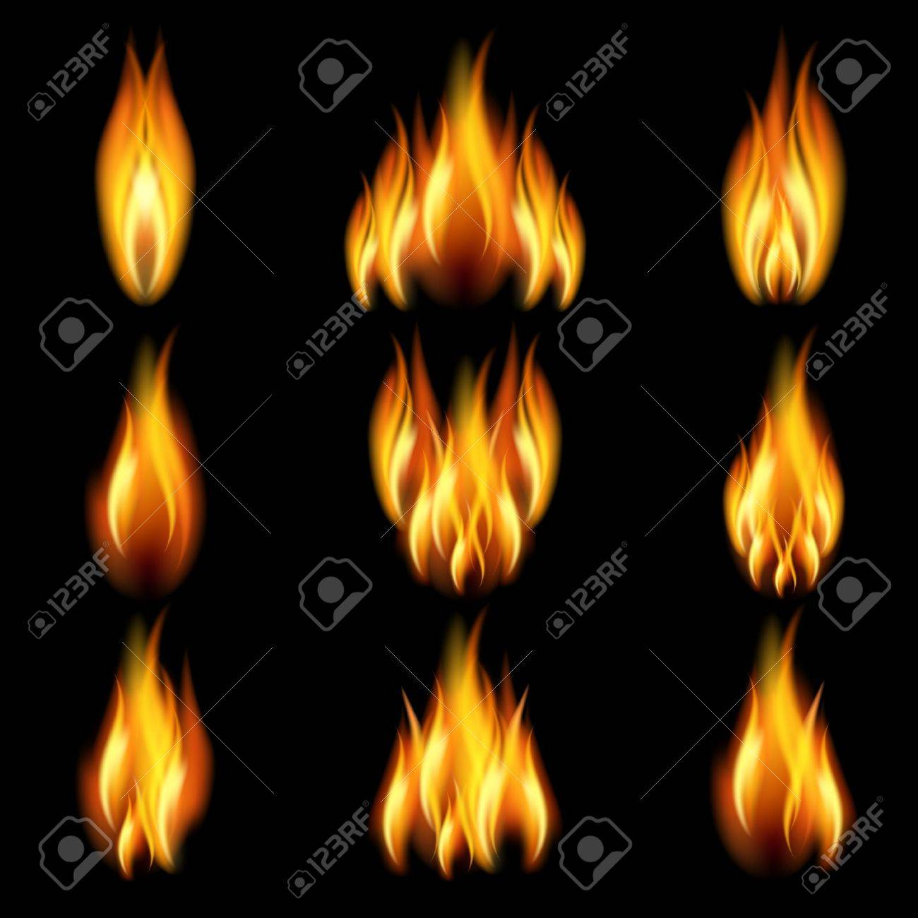 Flames of different shapes on a black background. - 11218749
