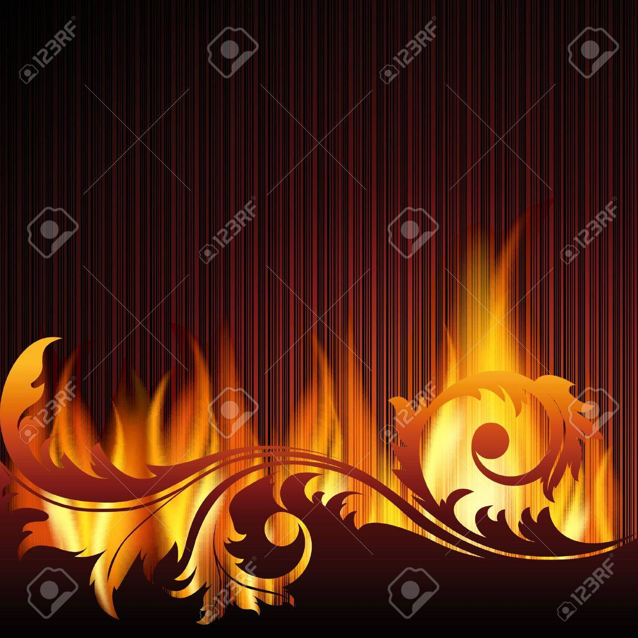 Black background with flame. - 11218752