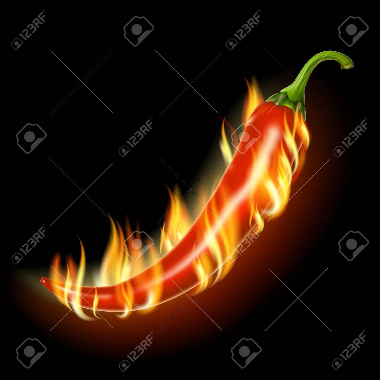 Pepper on fire on a black background . - 12182156