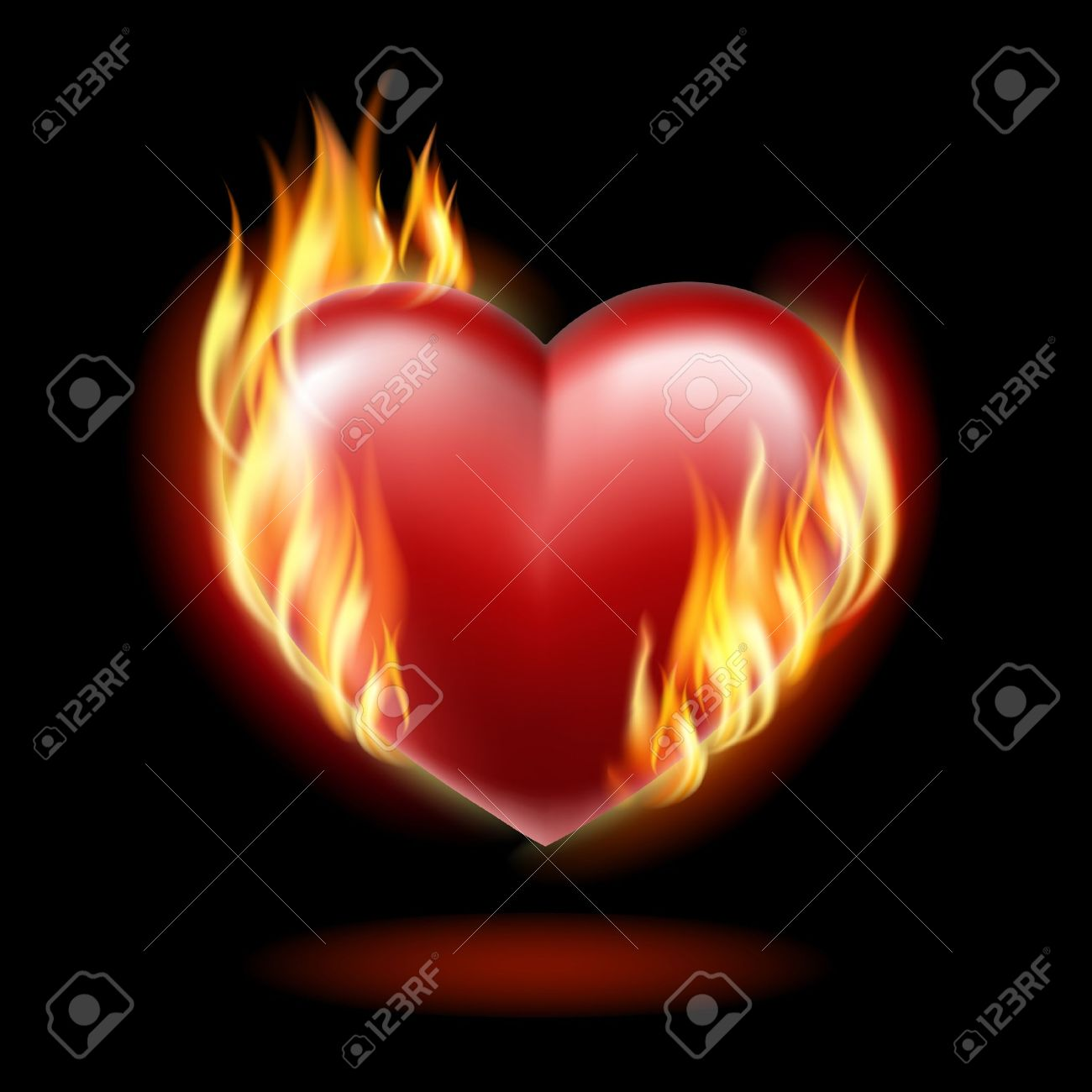 Heart on fire on a black background . - 12182161