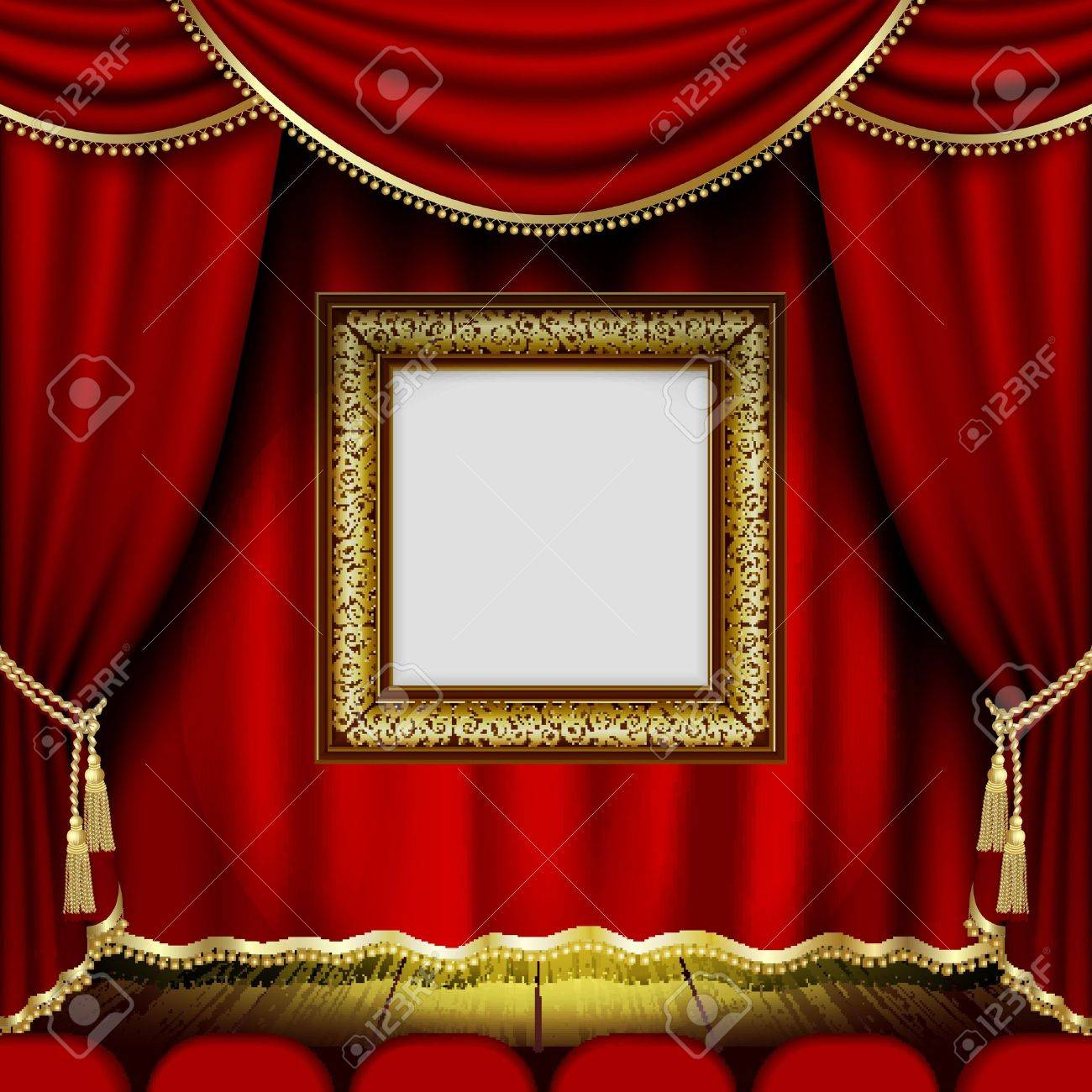 Frame On The Background Of Red Theater Stage Curtains.This File ...