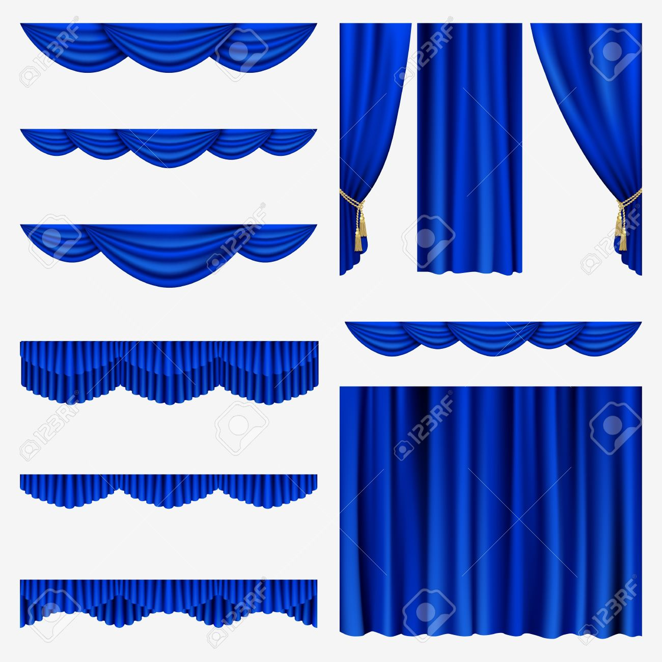 Set of blue curtains to theater stage Mesh - 17880194