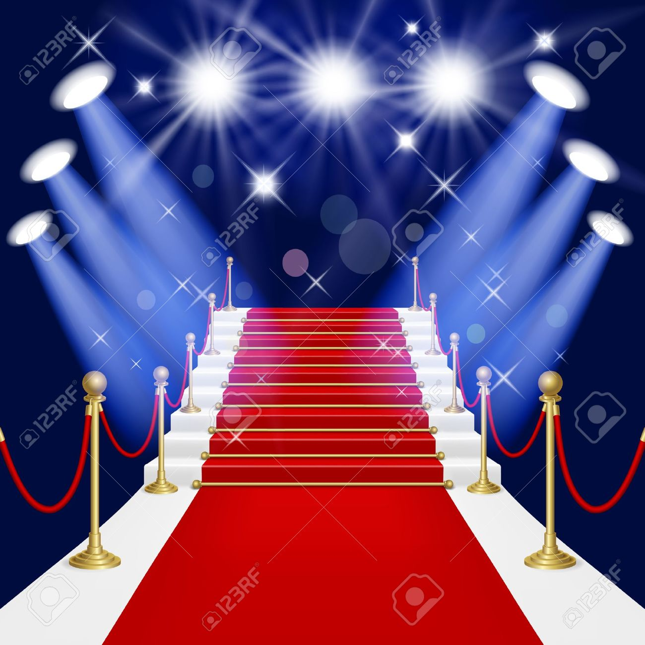 Red carpet with spotlight  Mesh This file contains transparency EPS10  Clipping Mask Stock Vector - 18169262