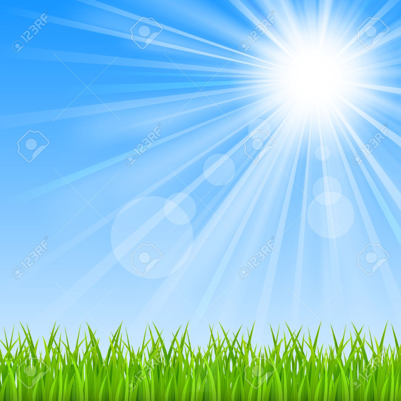 Background with a blue sky, sun and green grass Mesh Clipping Mask This file contains transparency EPS10 - 18568497