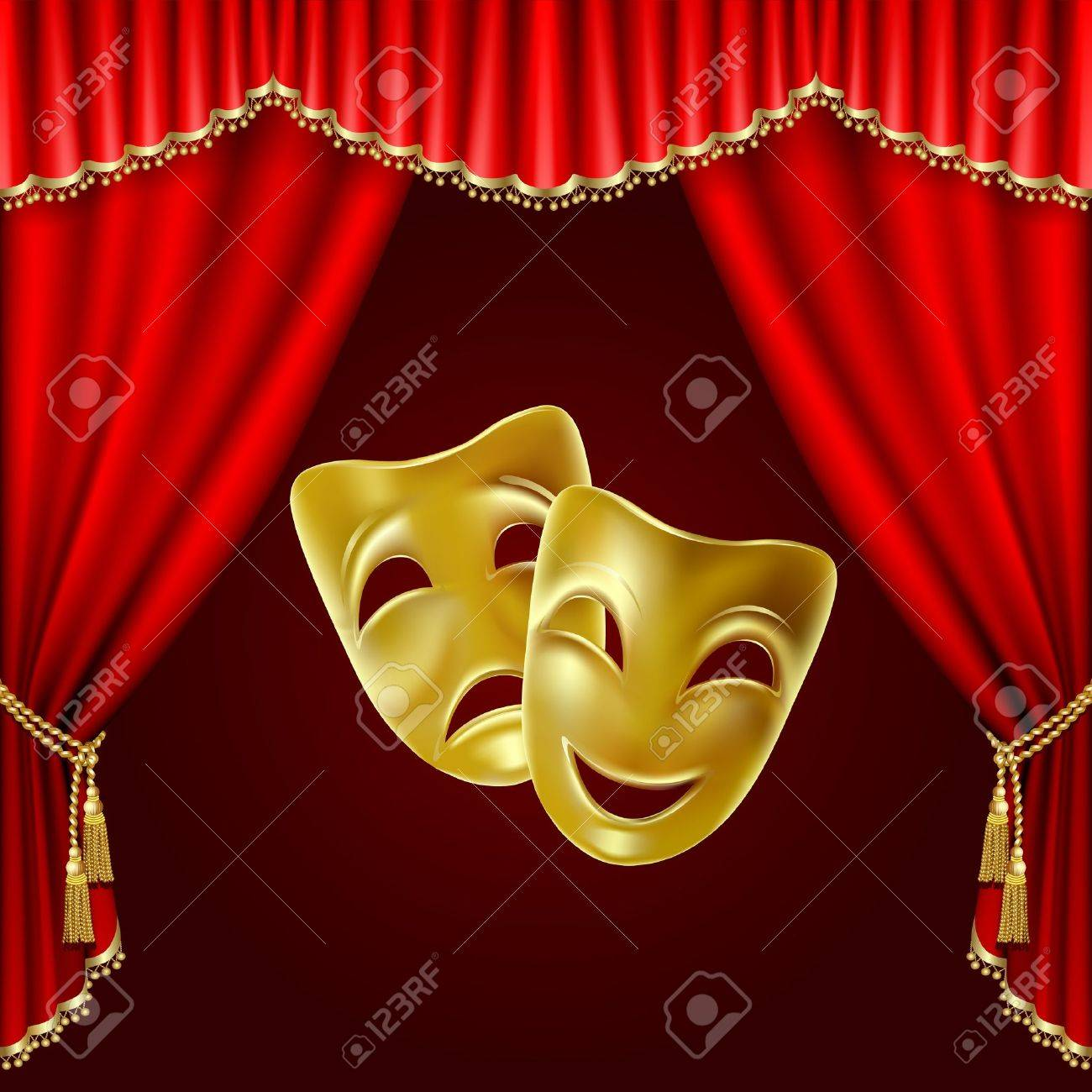 Theatrical mask on a red background. Mesh. Clipping Mask - 20326011