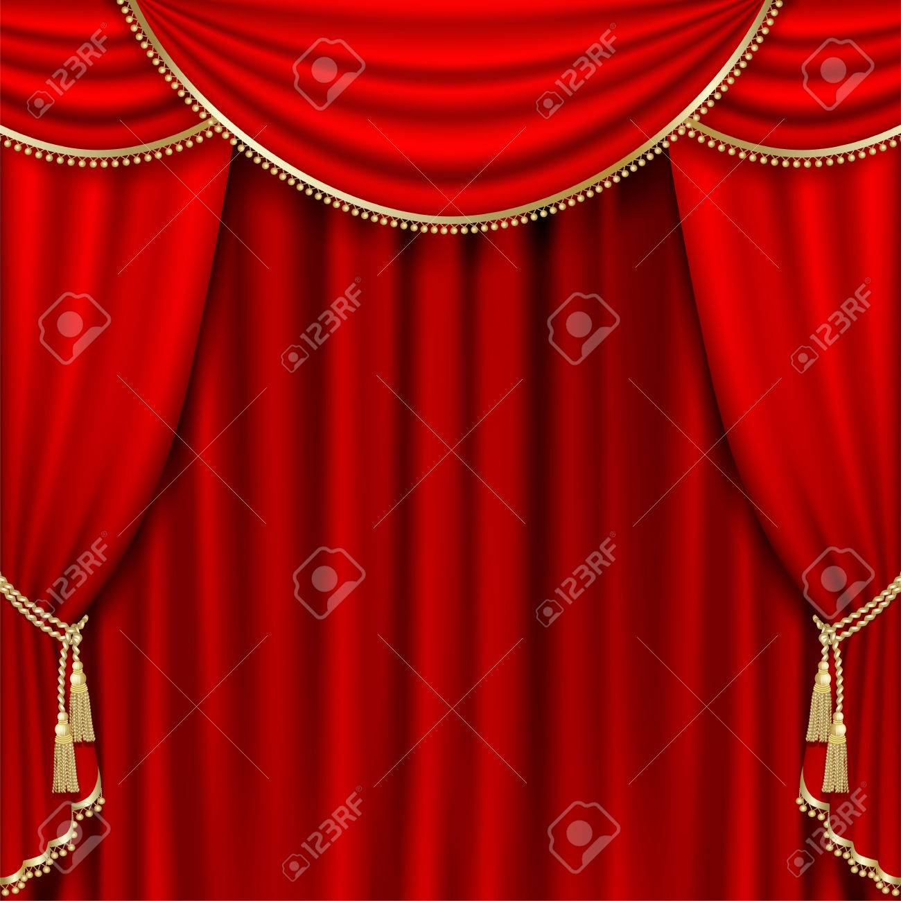 Theater stage with red curtain. Clipping Mask. Mesh. - 29902802