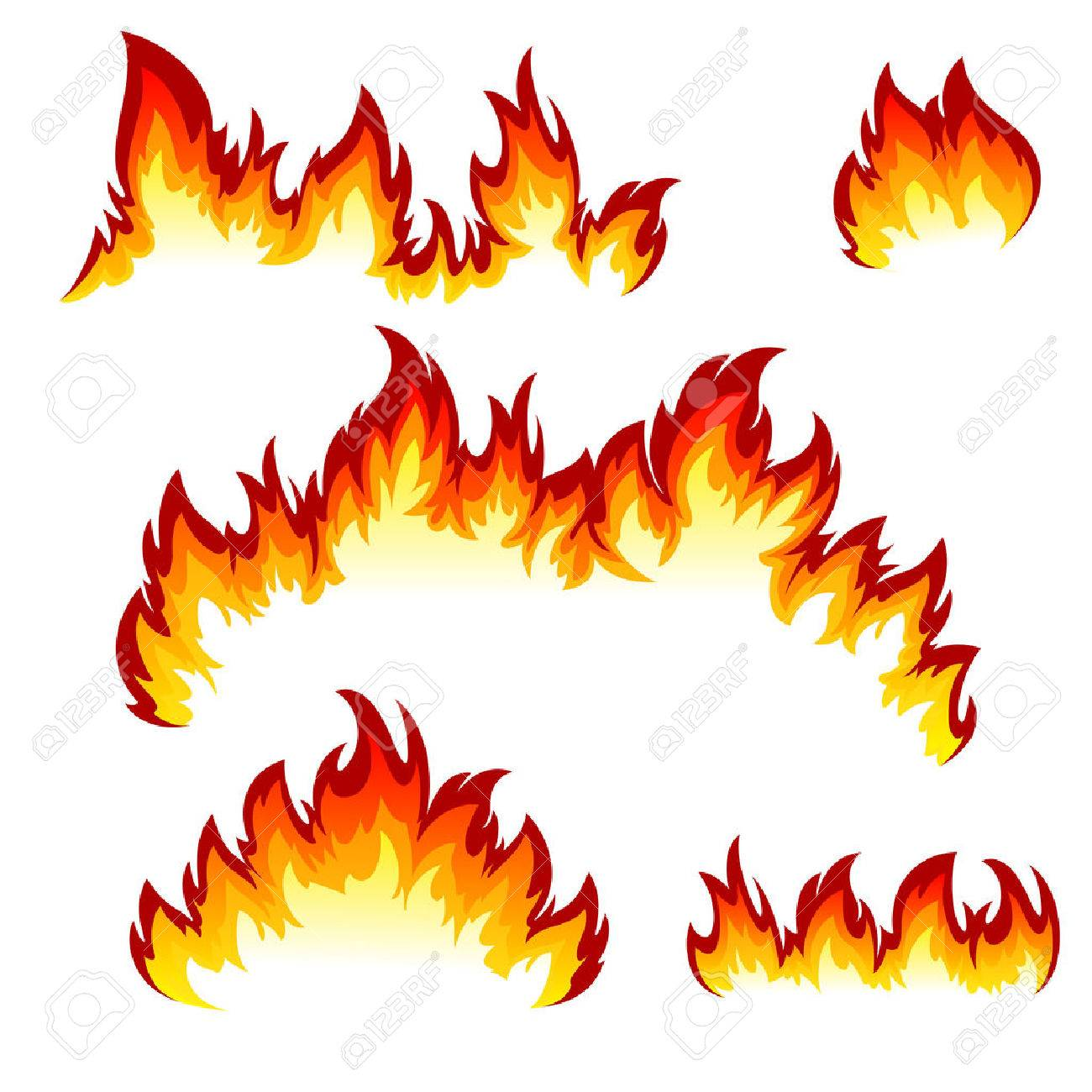 Flames of different shapes on a white background. - 30828964