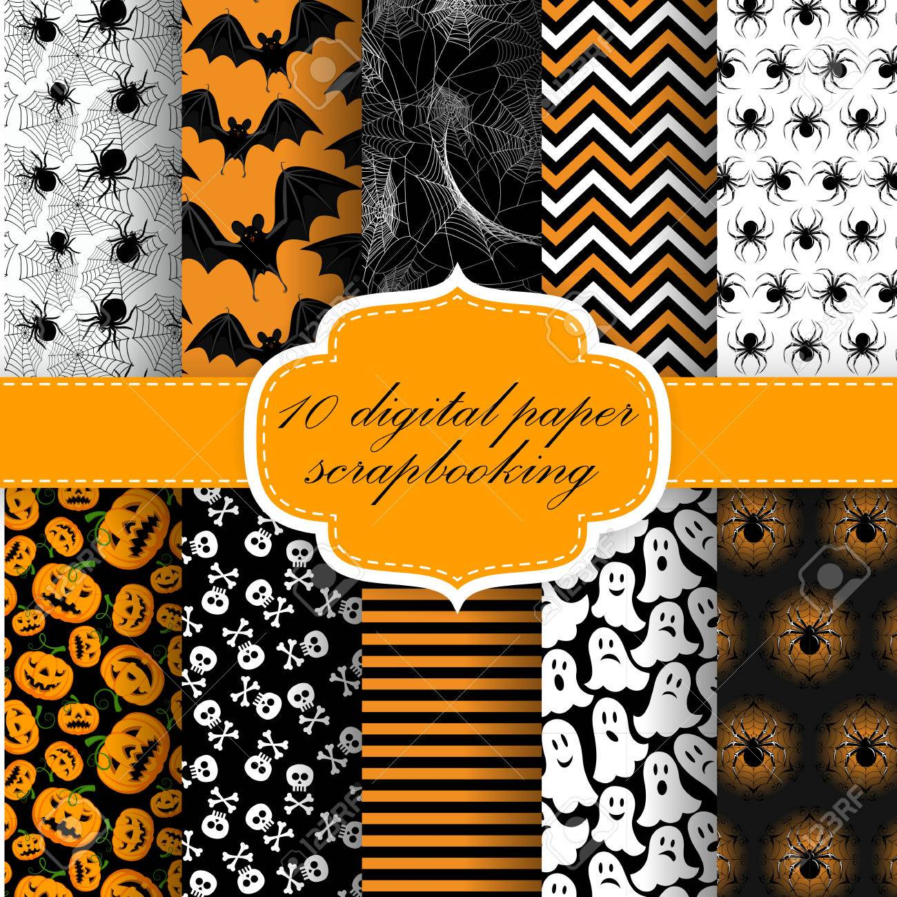 Collection of Halloween Themed Seamless Backgrounds. Halloween Digital Paper For Scrapbook. - 32520885