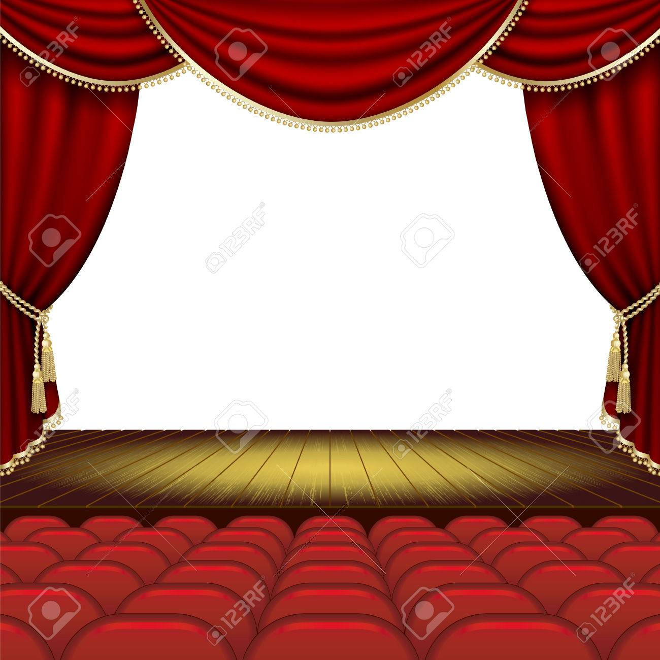 Theater stage with red curtain. Clipping Mask. Mesh. - 36021149