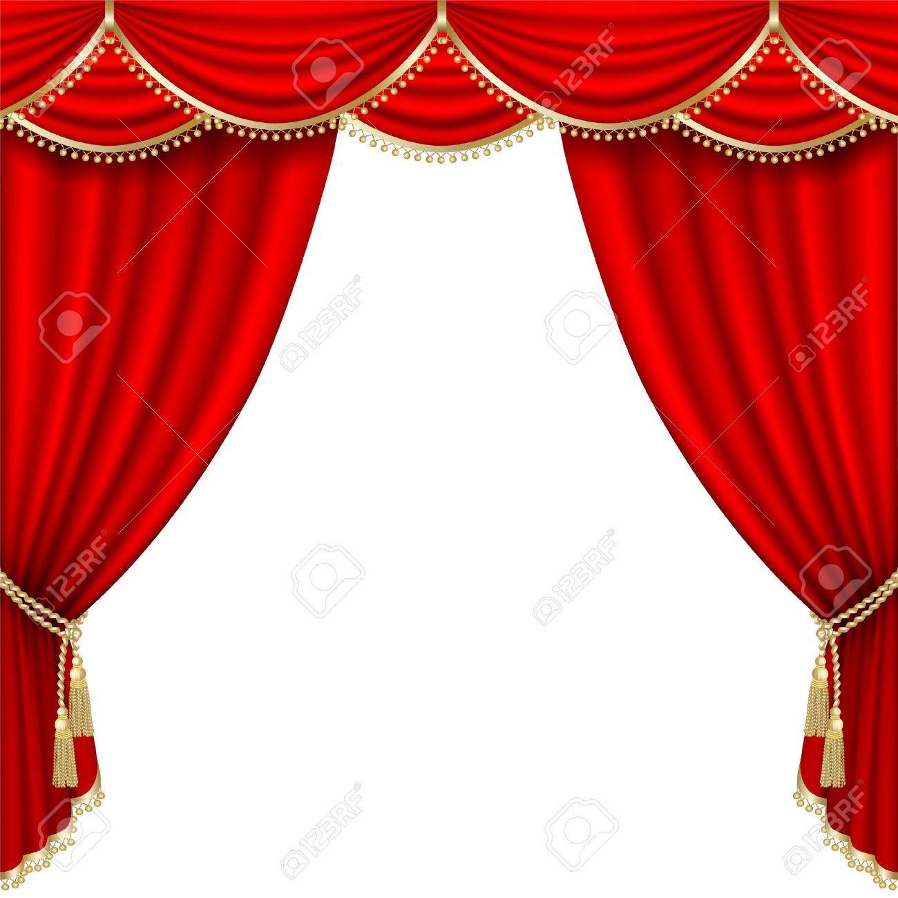 Scène De Théâtre Avec Rideau Rouge. Un Masque D\'écrêtage. Mesh. Clip ...