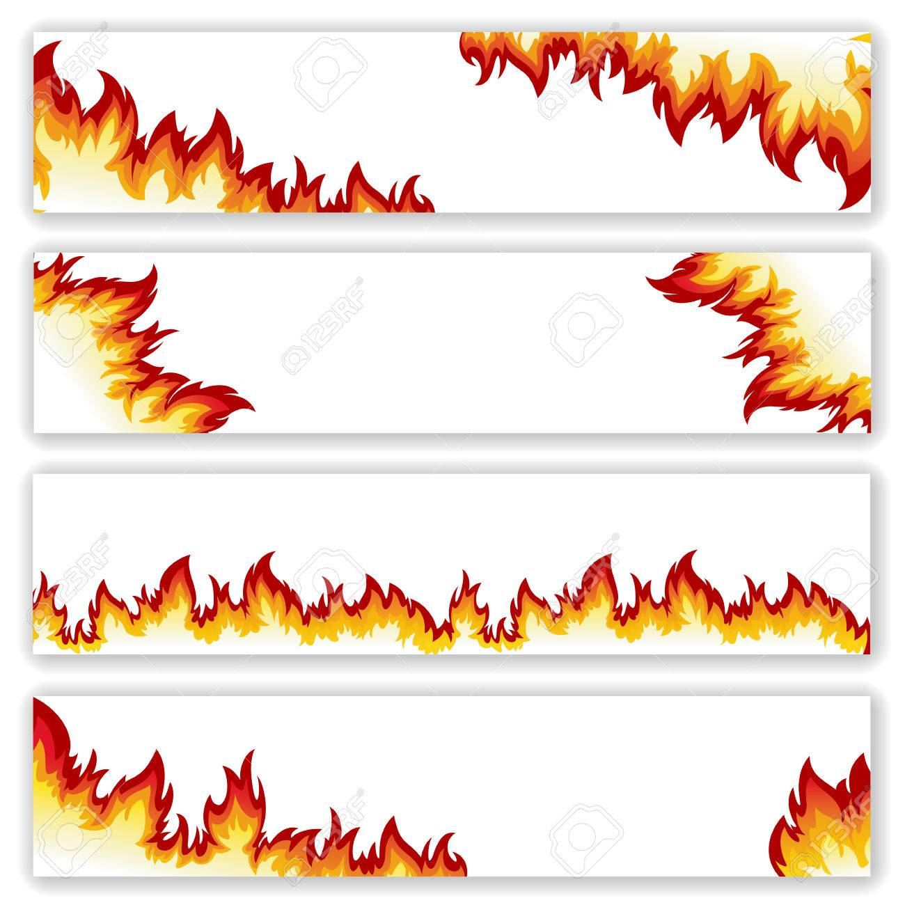 Set of banners flame of different shapes on a white background.Clipping Mask. - 40024042