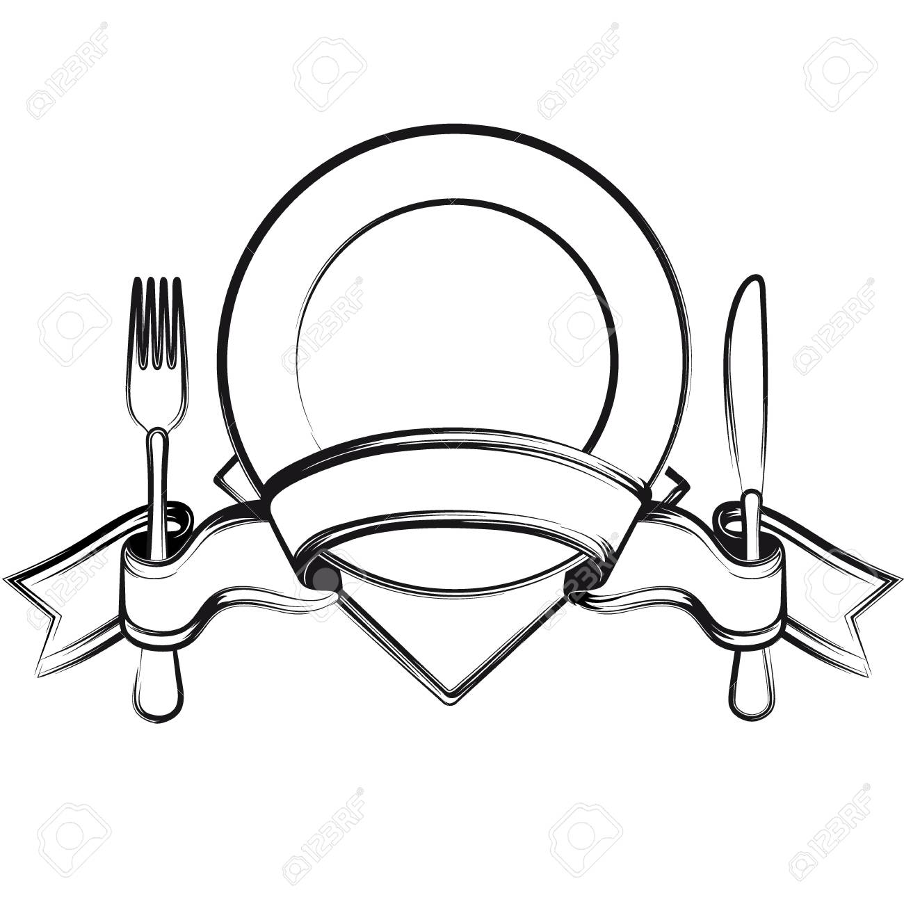 Empty Plate With Ribbon Spoon Knife And Fork On A White Background