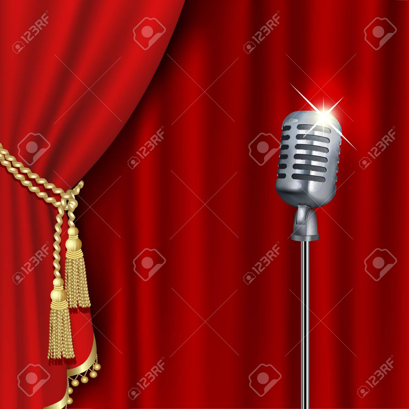 Theater stage with microphone and red curtain. Clipping Mask. Mesh. - 120319395