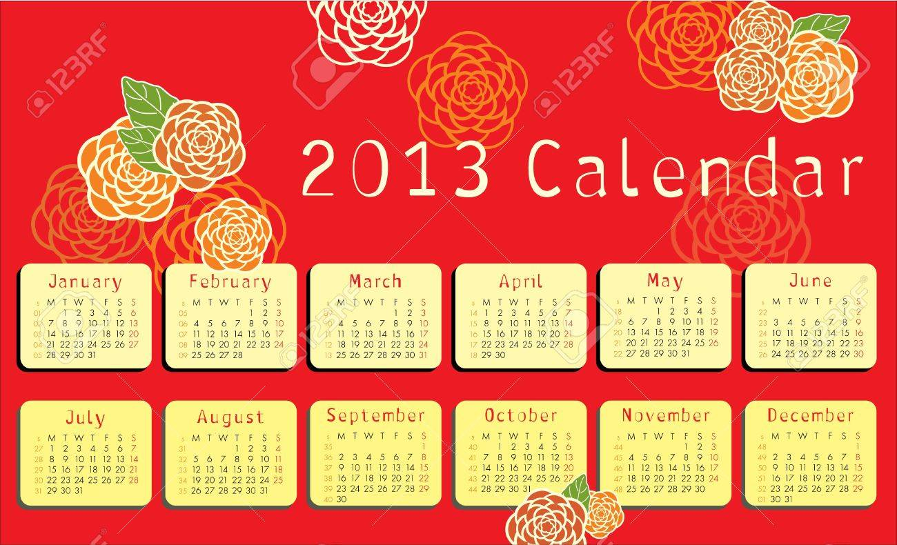 2013 calendar with floral ornaments Stock Vector - 14150975