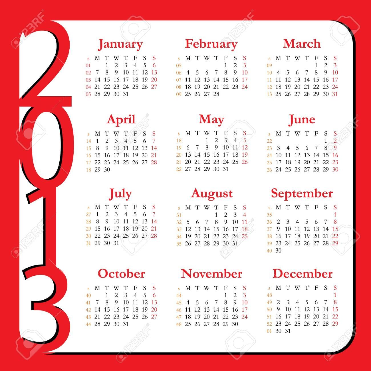 Calendar for Year 2013 Stock Vector - 14150977