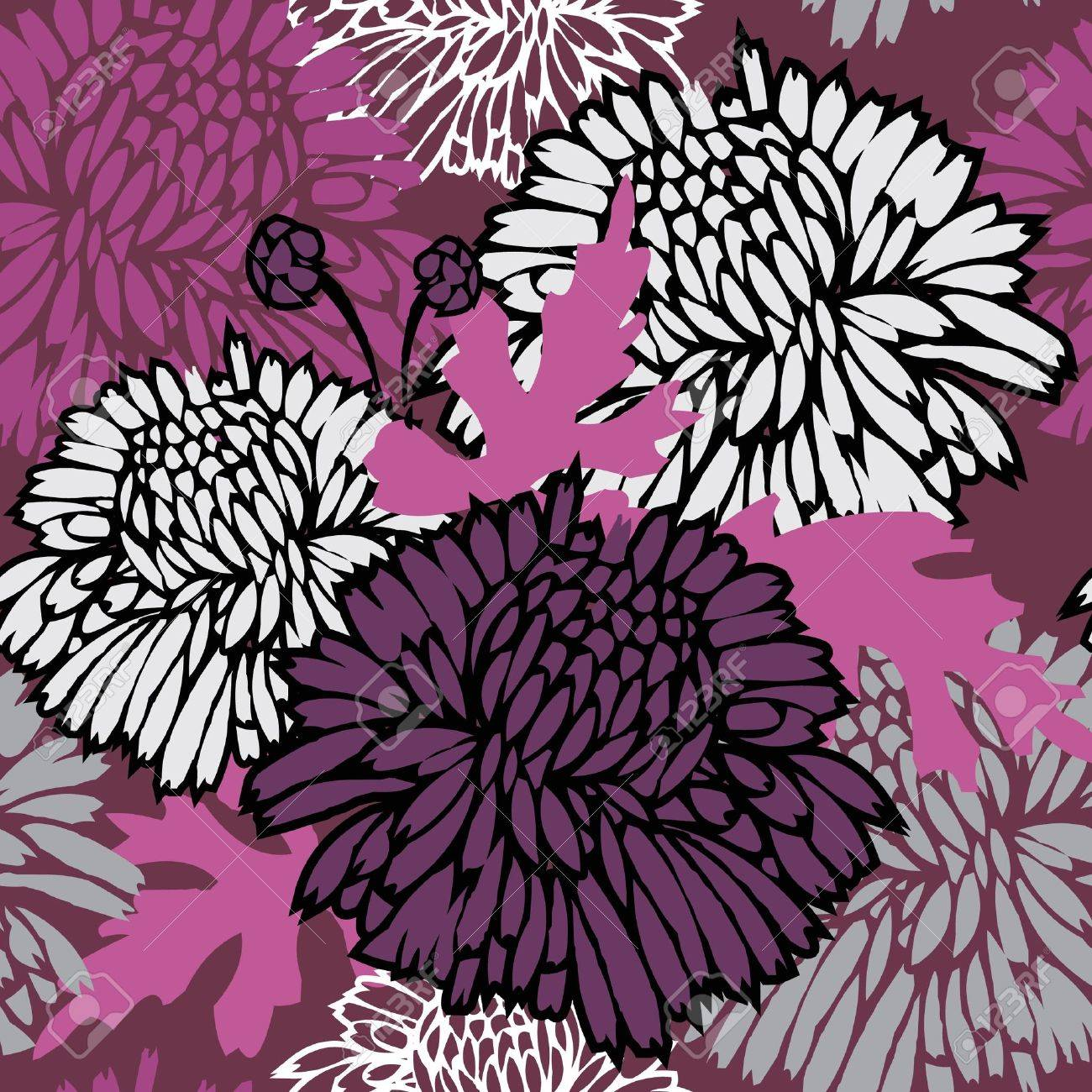 Pink floral seamless vector background floral hrysanthemum seamless - Seamless Pattern With Flowers Floral Background Stock Vector 14150955