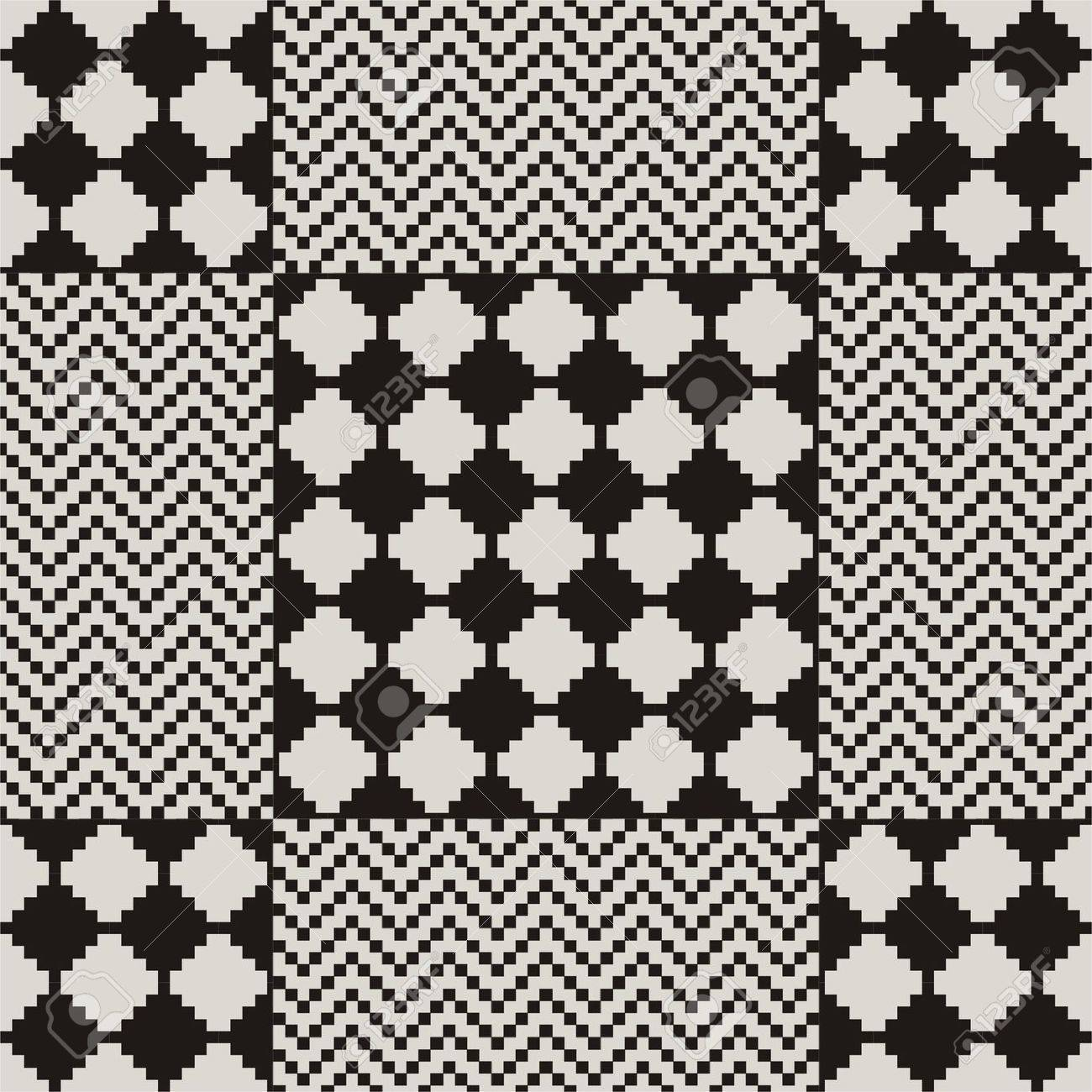 seamless pattern in black and white zig-zag Stock Vector - 14151089