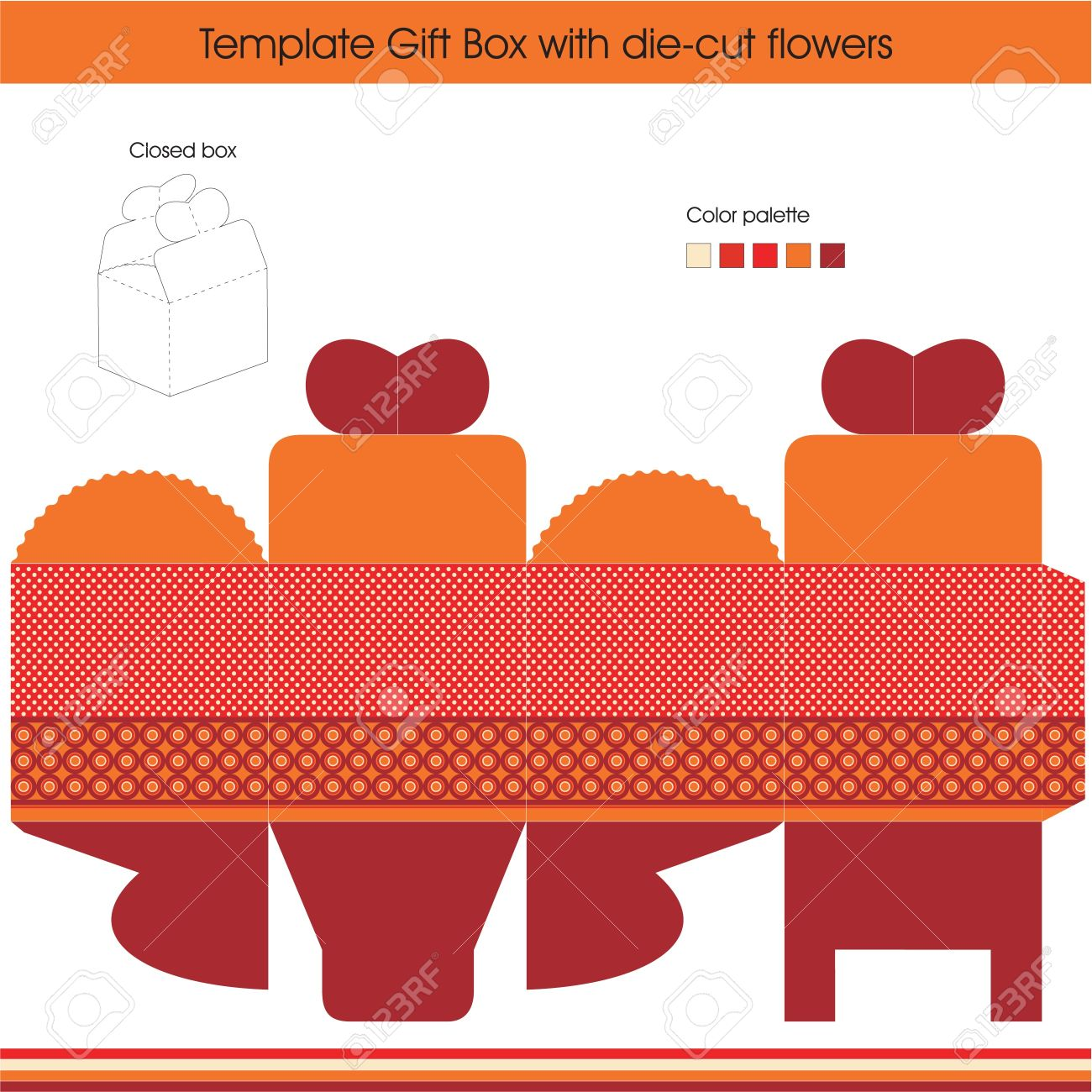 Gift Box Template With Dots Design Royalty Free Cliparts Vectors