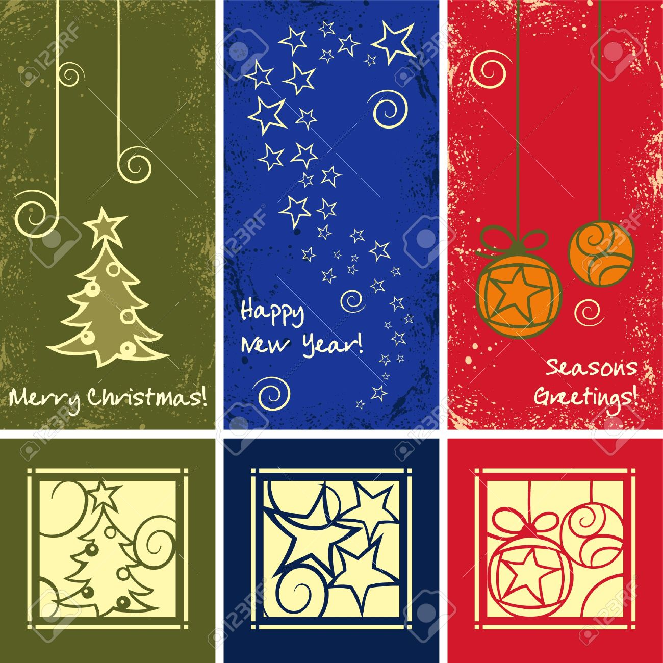 Grunge Christmas Ornaments in different colours Stock Vector - 14151364
