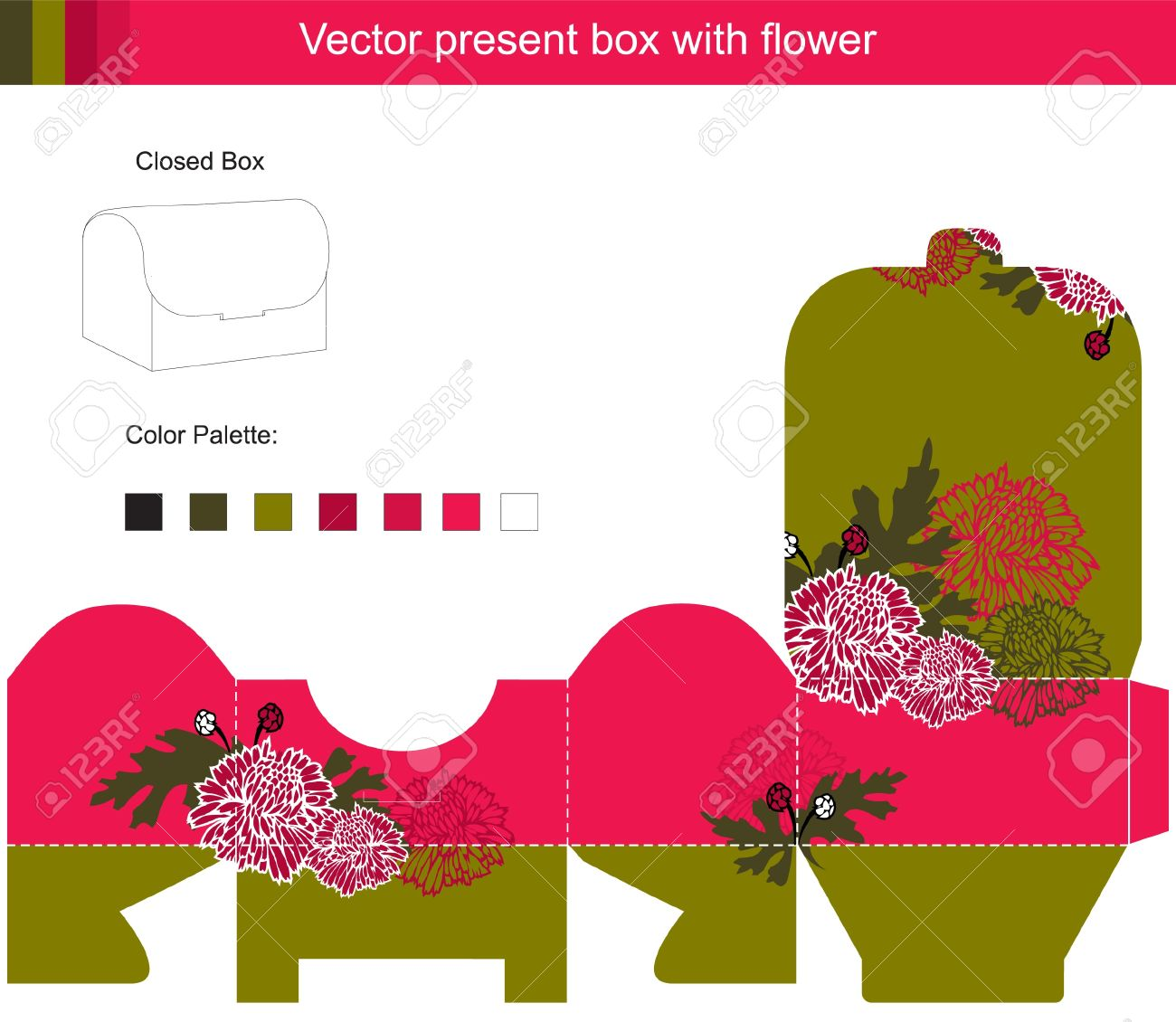Template vector box with red flowers Stock Vector - 14151292