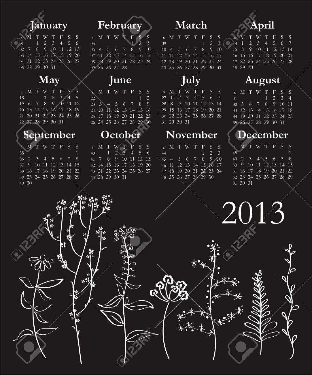 Template for calendar 2013 with flowers Stock Vector - 14807037