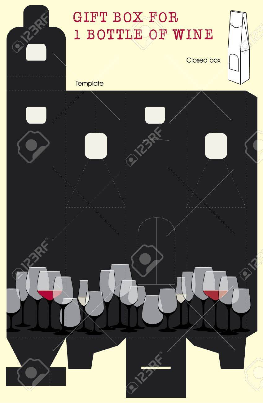 Gift box for one bottle of wine Vector template Stock Vector - 15065105