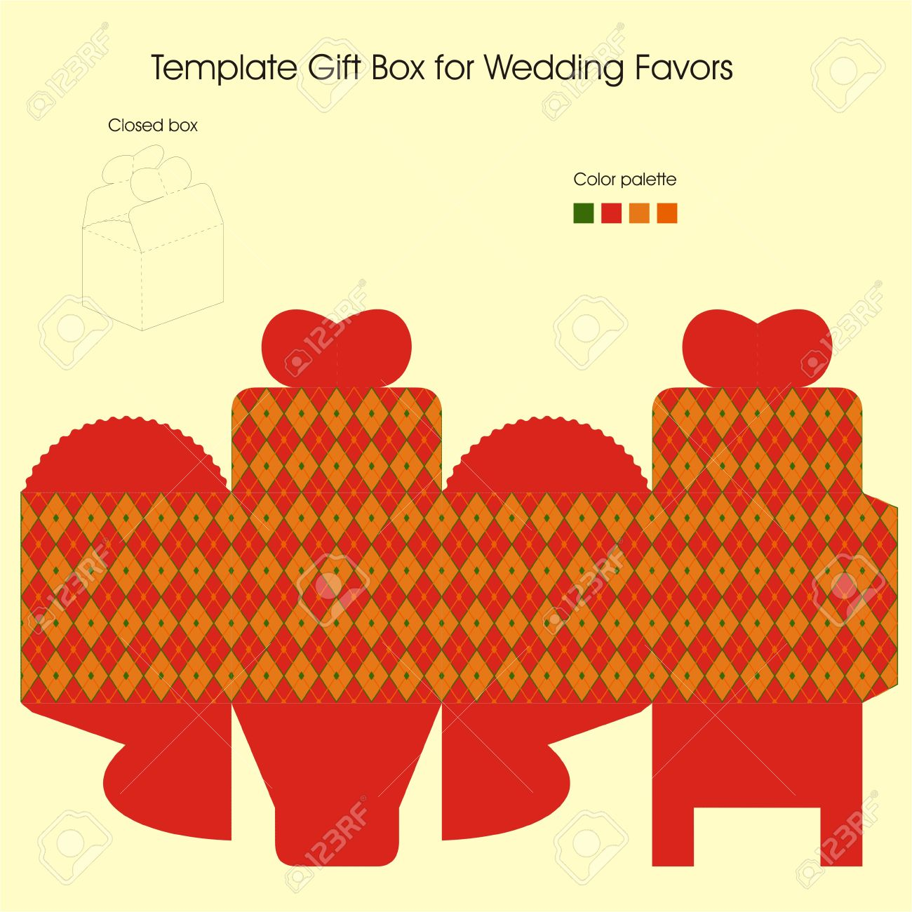 Template Gift Box For Christmas Present Royalty Free Cliparts