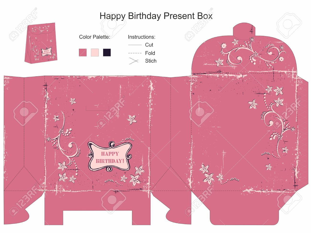 Happy Birthday Gift Box Template Royalty Free Cliparts, Vectors, And ...