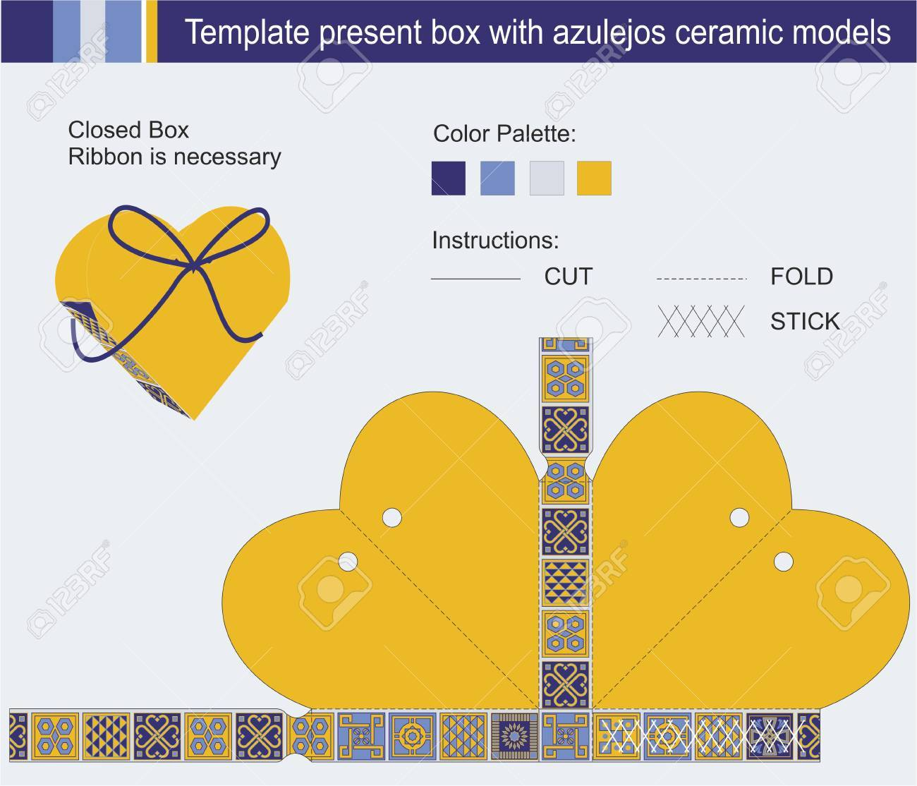 Template Present Box In Heart Shape With Azulejos Ceramic Models ...