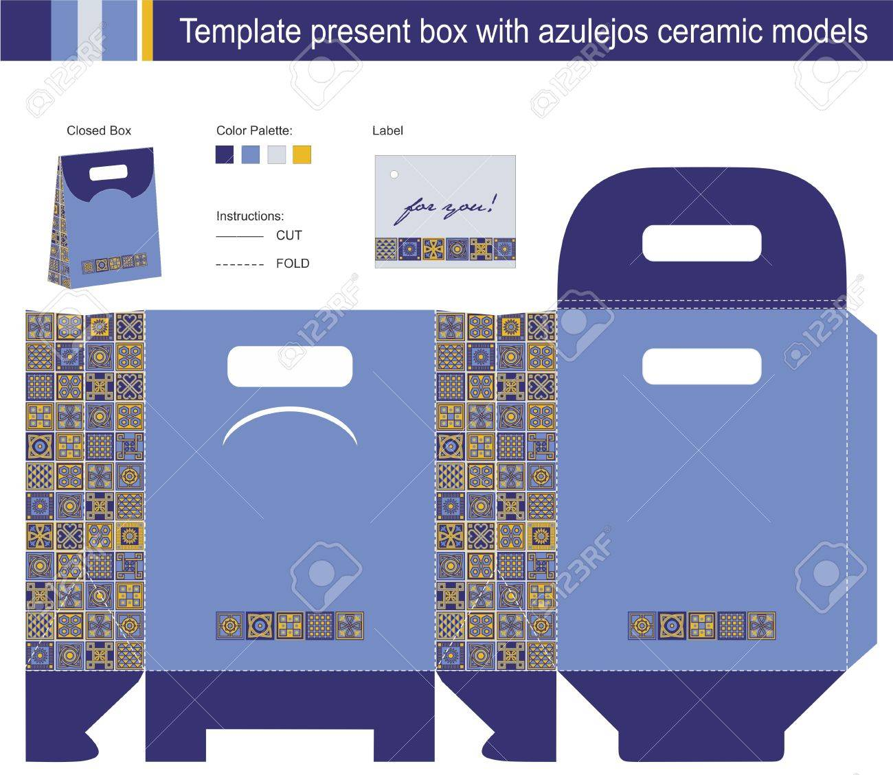 Template present box with azulejos ceramic models Stock Vector - 17207880