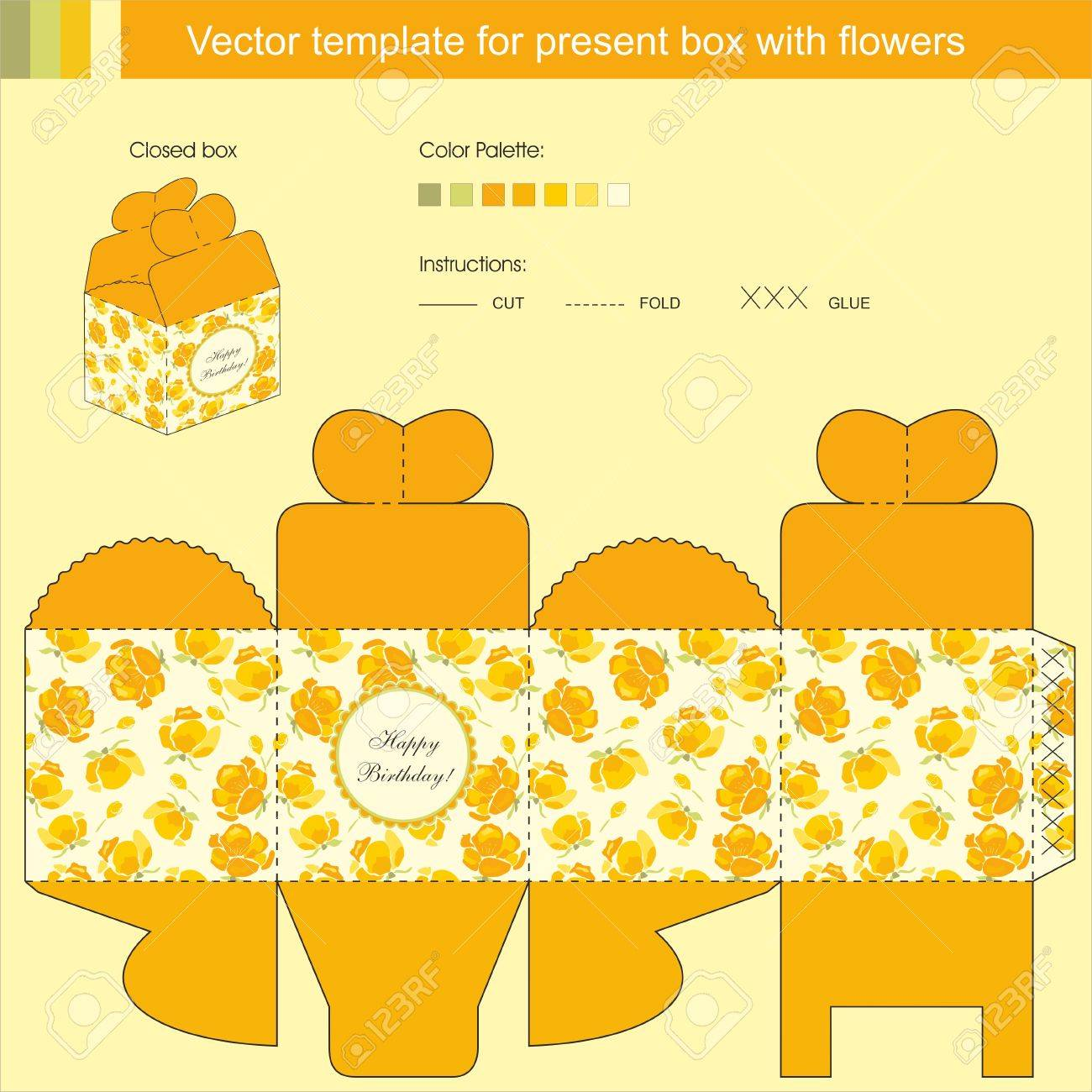 Vector template for present box with spring yellow flowers Stock Vector - 17344822