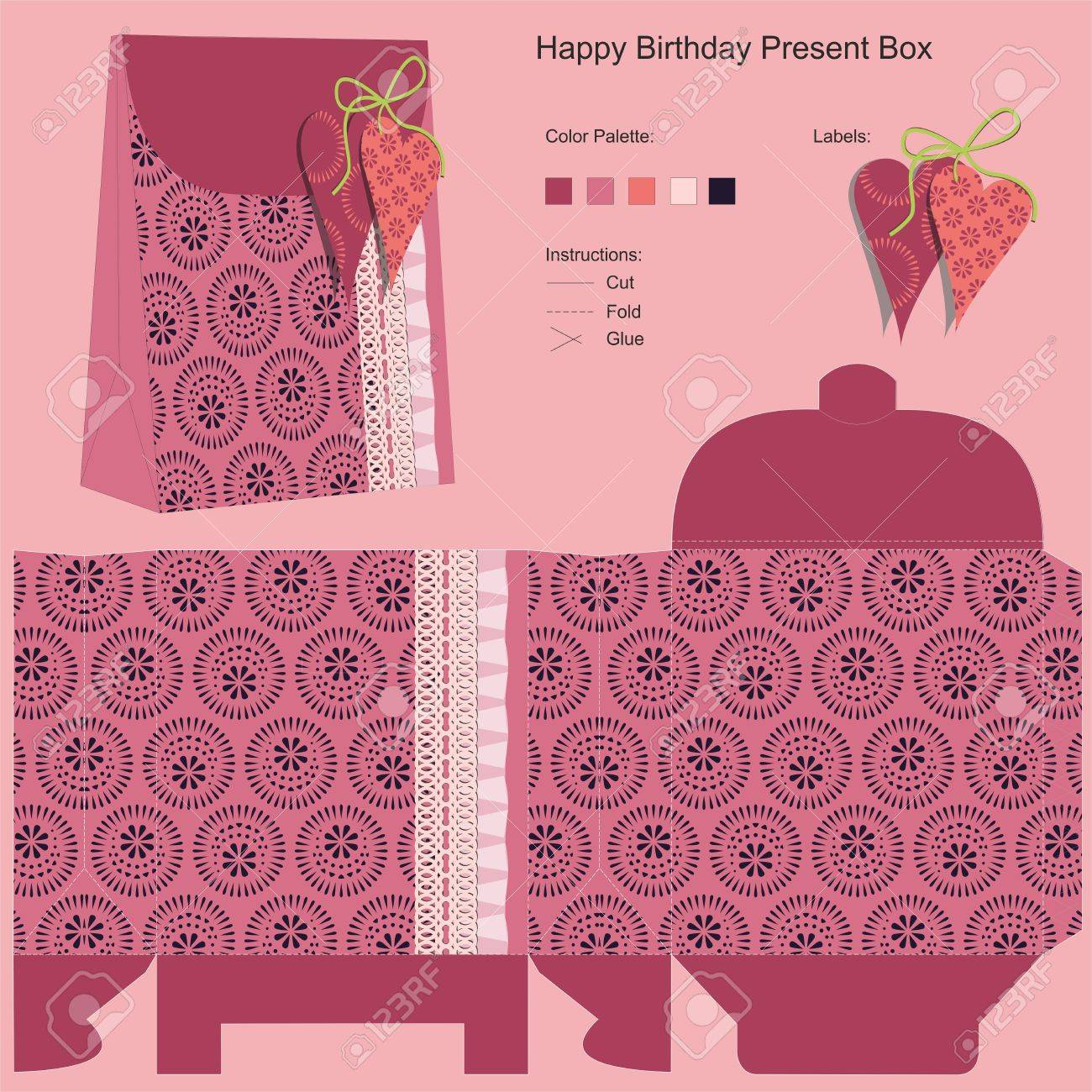 Happy Birthday Gift Box Template Royalty Free Cliparts Vectors – Gift Box Template Free