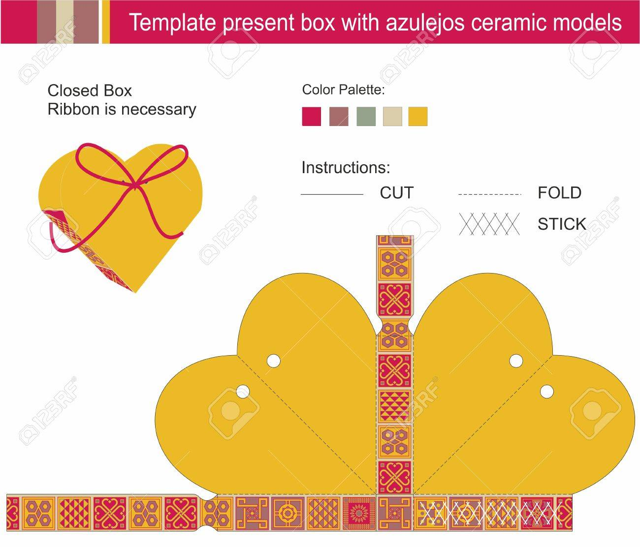 template present box in heart shape azulejos ceramic models template present box in heart shape azulejos ceramic models stock vector 20950141