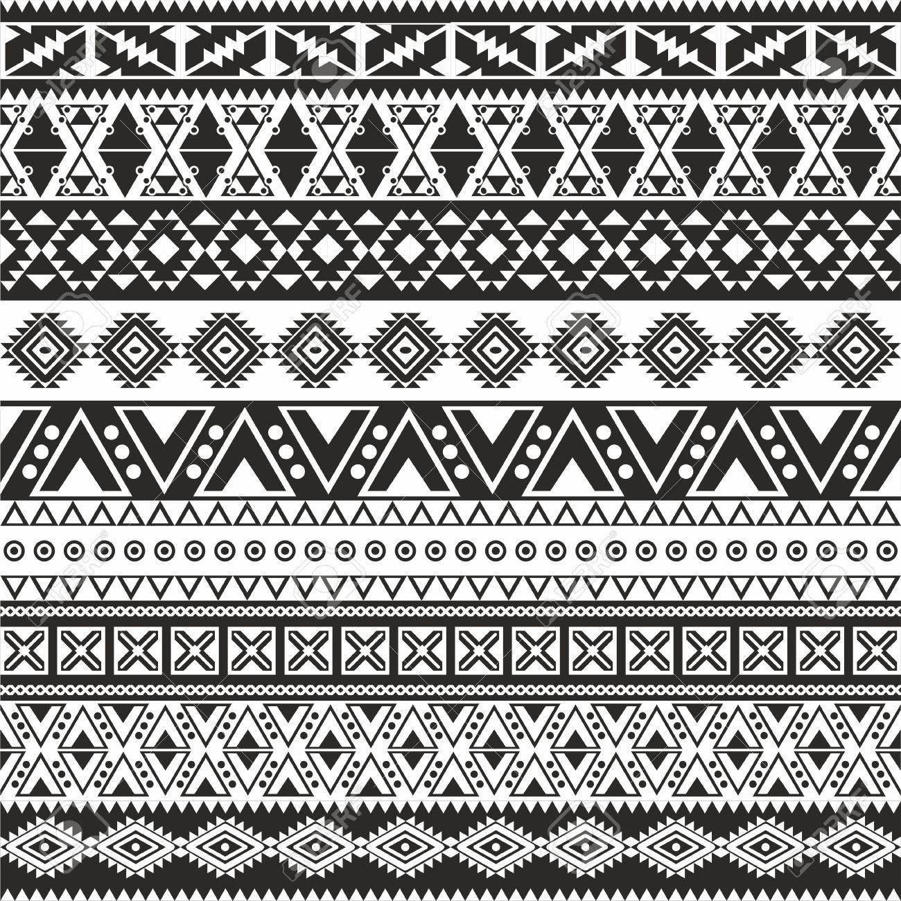 Background geometric mexican patterns seamless vector zigzag maya - Tribal Seamless Pattern Aztec Black And White Background Stock Vector 21504586