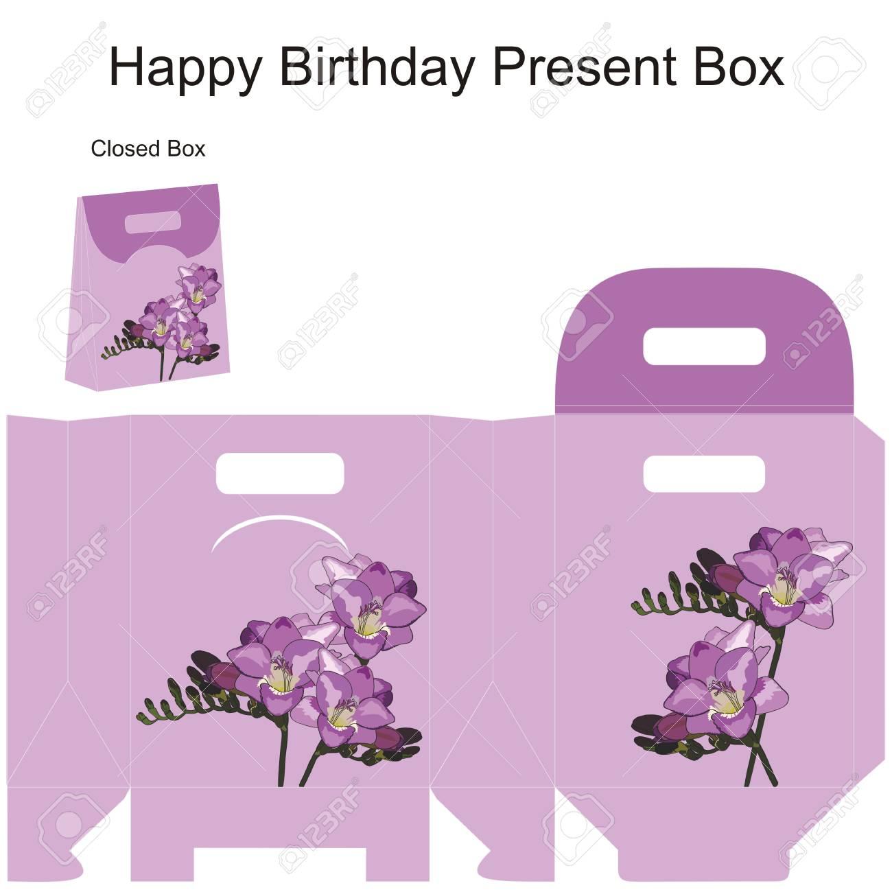 Vorlage Geschenk-Box Für Hochzeit Gefälligkeiten Freesiablumen ...