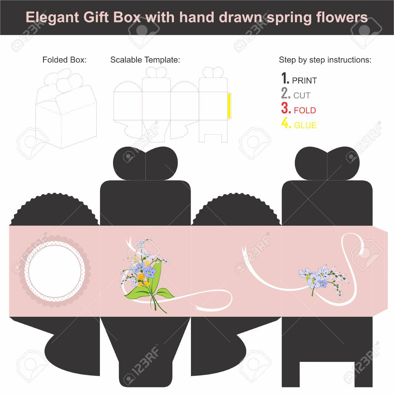 Present Gift Box Template In Cube Shape Royalty Free Cliparts