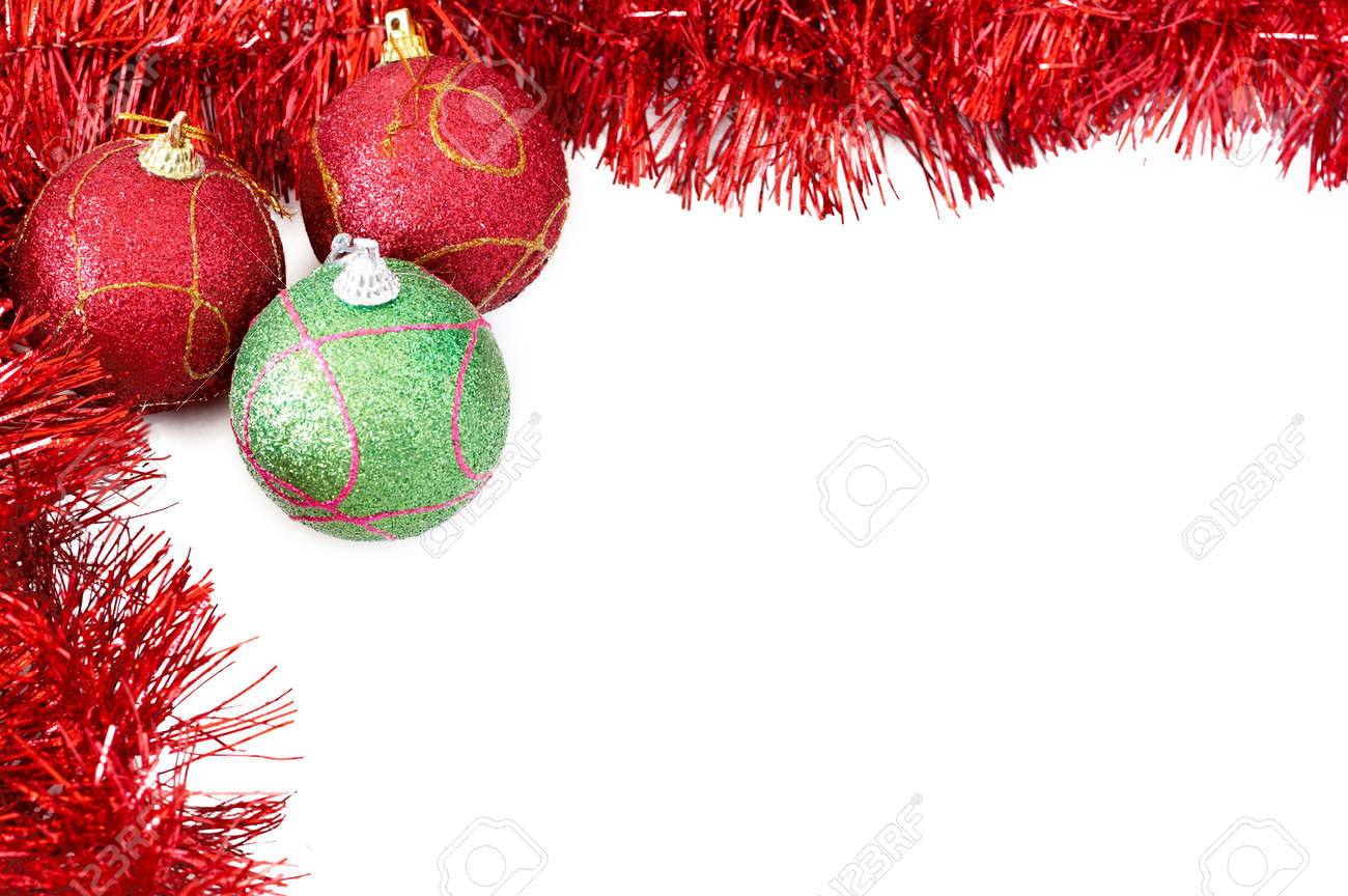 Drei Rote Und Grüne Weihnachten Mit Roten Kugeln Lametta Bilden ...