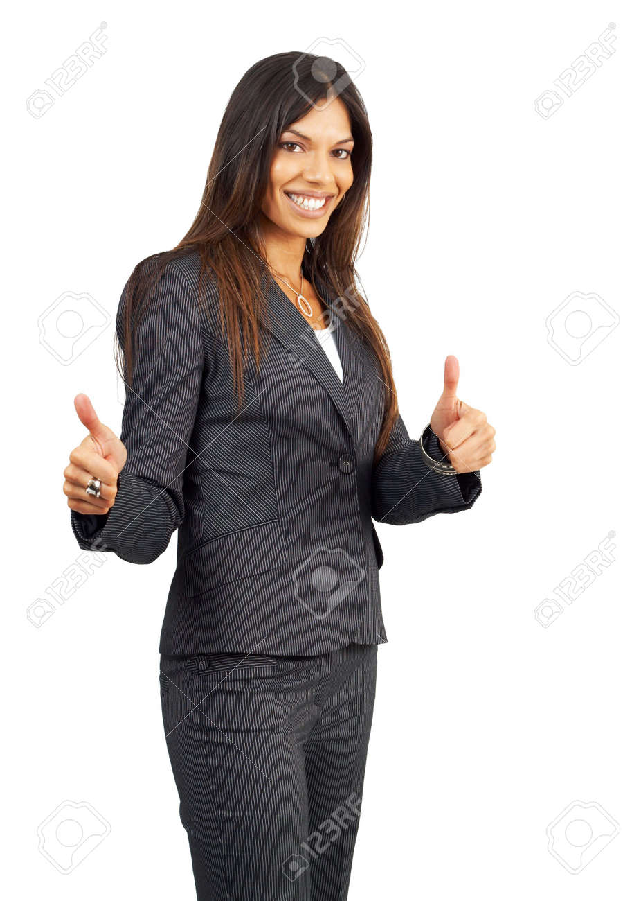 Beautiful brunette businesswoman in pinstripe suit giving thumbs up. Isolated on white background with copy space Stock Photo - 3138453
