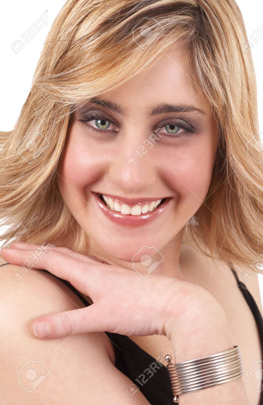 Blonde hair pale green eyes - Portrait Of A Beautiful Blonde Woman With Light Green Eyes And Natural Make Up Isolated