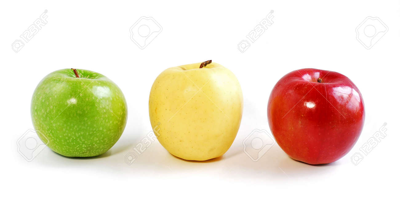 Three apples on white background: green, yellow and red Stock Photo - 353236