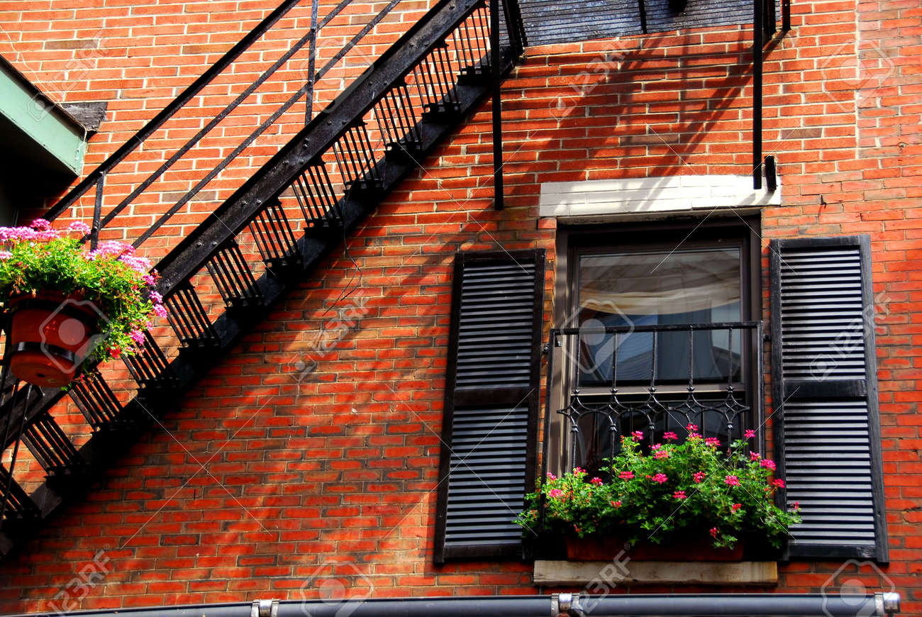 Fragment Of A Red Brick House In Boston Historical North End Stock Photo    475532