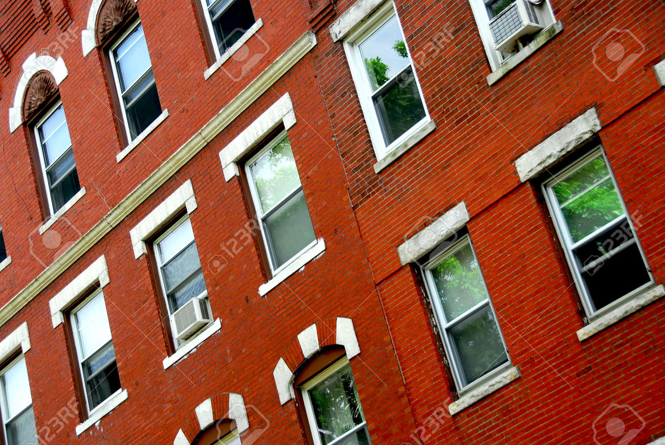 Fragment Of A Red Brick House In Boston Historical North End Stock Photo    475524