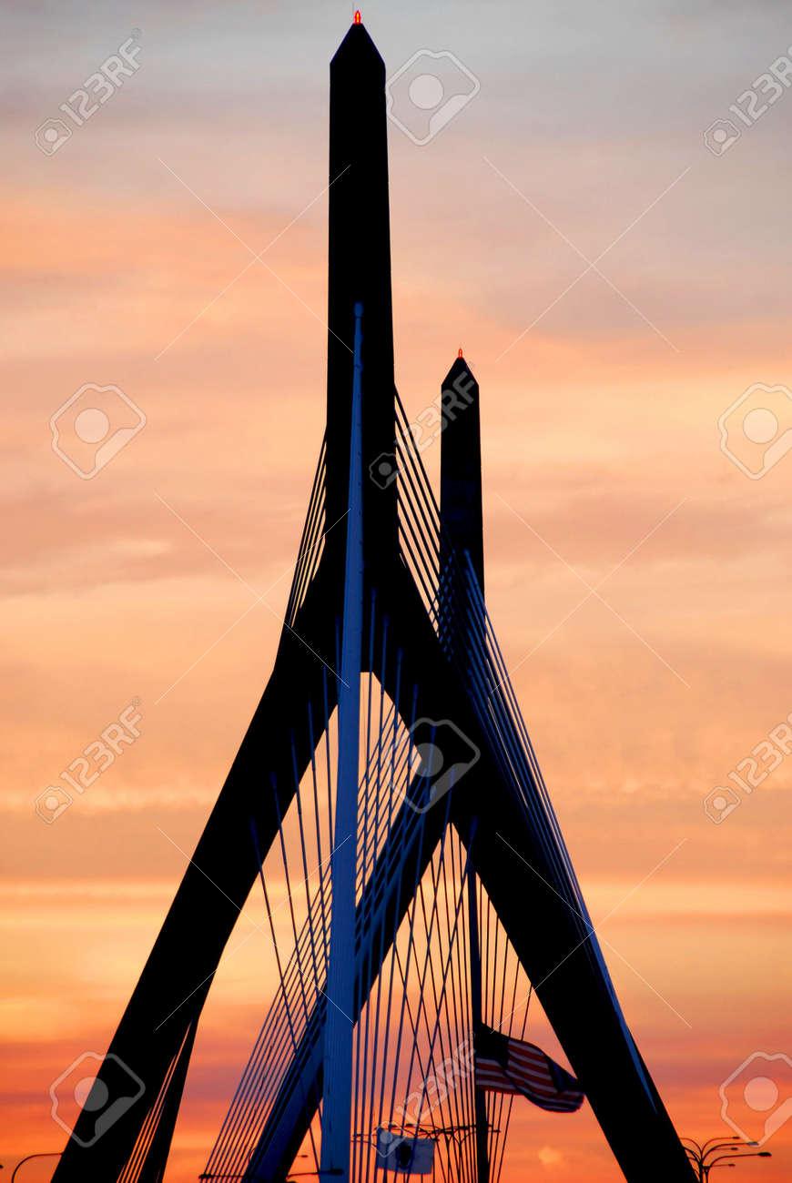 Leonard Zakim bridge in Boston at sunset Stock Photo - 496197
