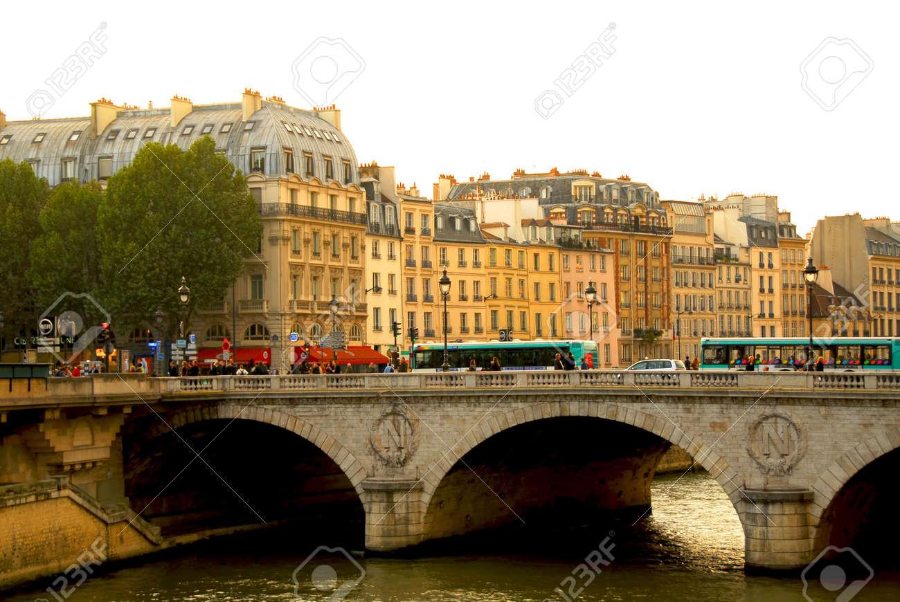 Stone bridge over Seine in Paris France Stock Photo - 609311