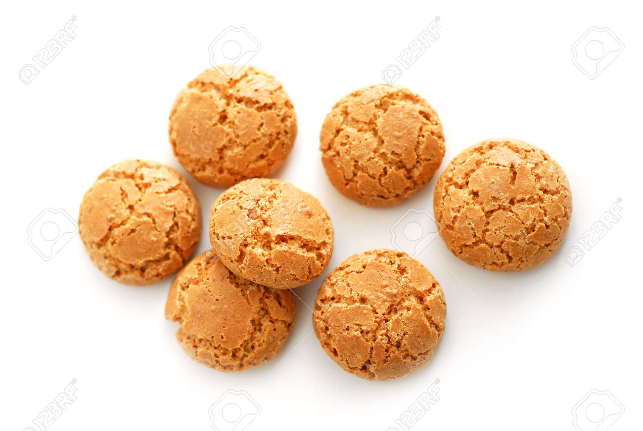 Traditional italian almond cookies - amaretti, isolated on white background Stock Photo - 733392