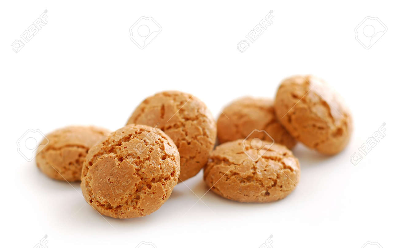 Traditional italian almond cookies - amaretti, isolated on white background Stock Photo - 737847