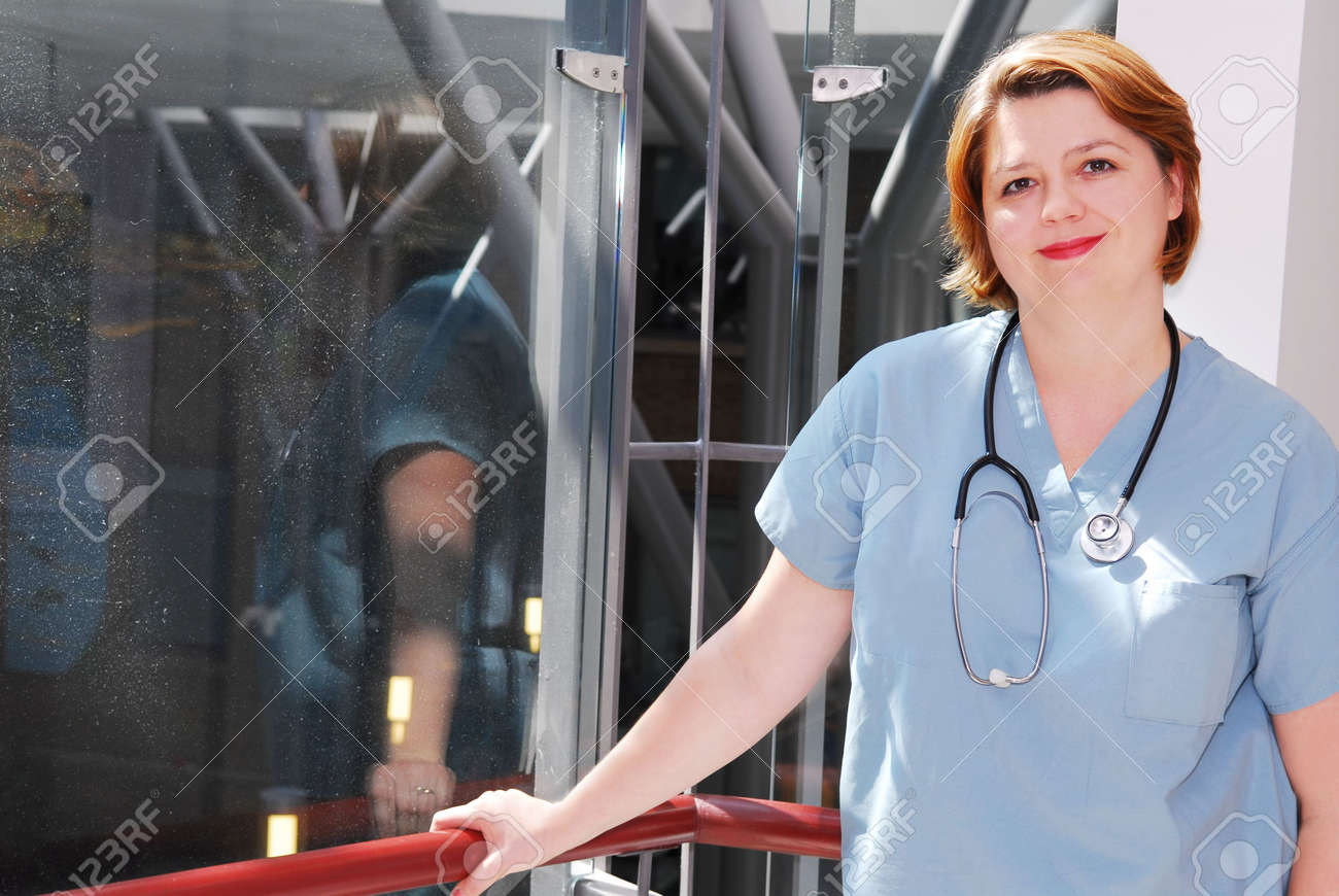 Portrait of a smiling nurse in a hospital Stock Photo - 2053635