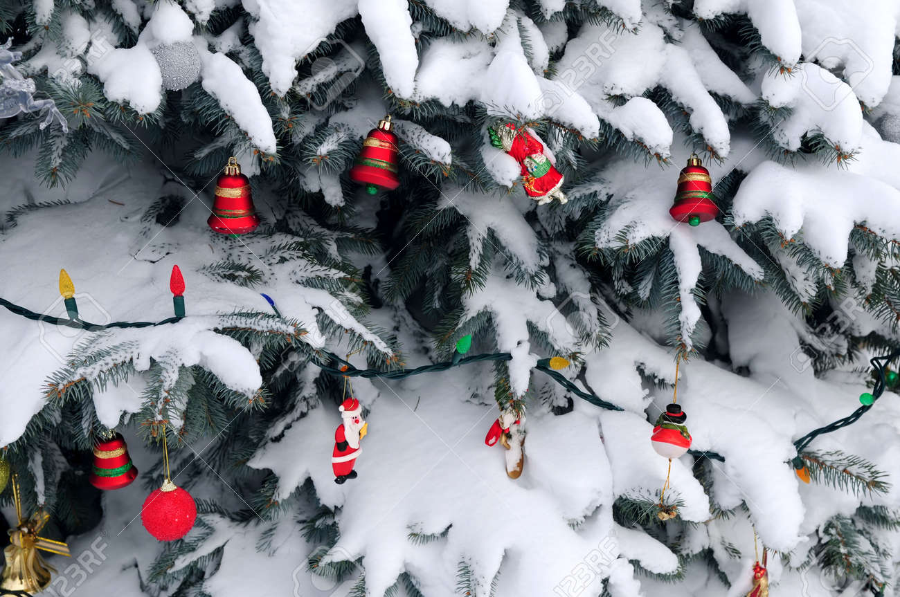 Outside ornaments - Christmas Ornaments Handing On Snow Covered Spruce Tree Outside Stock Photo 2368508