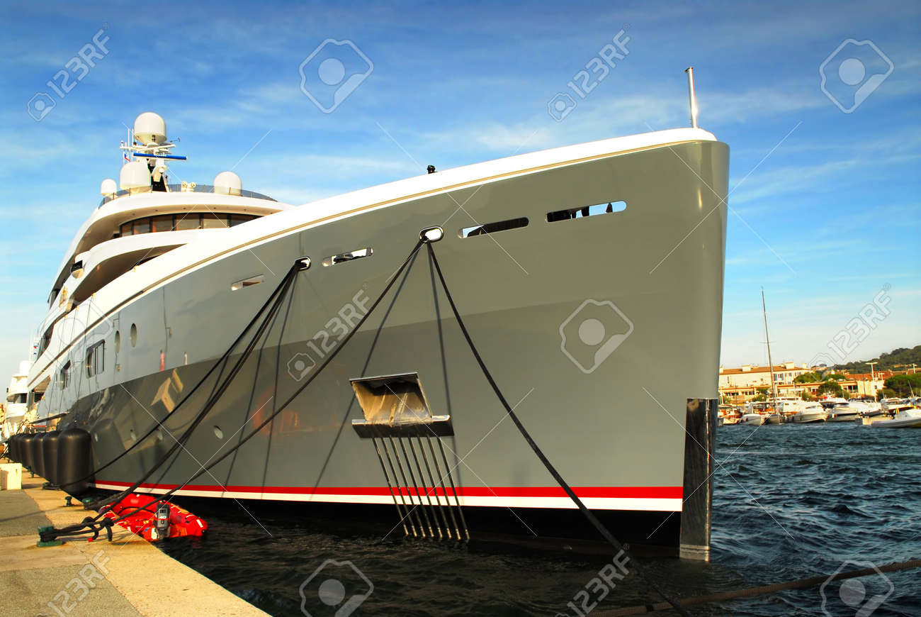 Large luxury yacht anchored at St. Tropez in French Riviera Stock Photo - 2758381